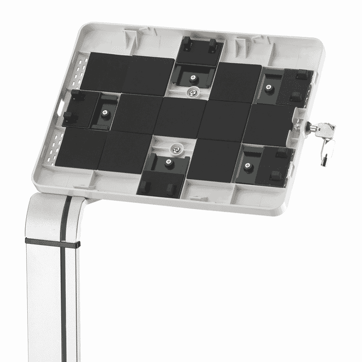floor standing tablet holder open