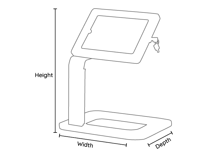 Universal Tablet Holder Desktop Line Drawing